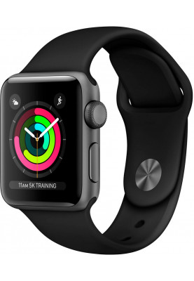 Apple Watch Series 3 42mm Space Gray Aluminum Case with Black Sport Band (MTF02)