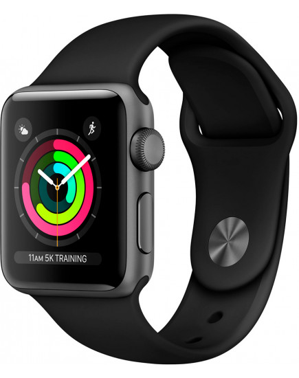 Apple Watch Series 3 38mm Space Gray Aluminum Case with Black Sport Band (MQKV2)