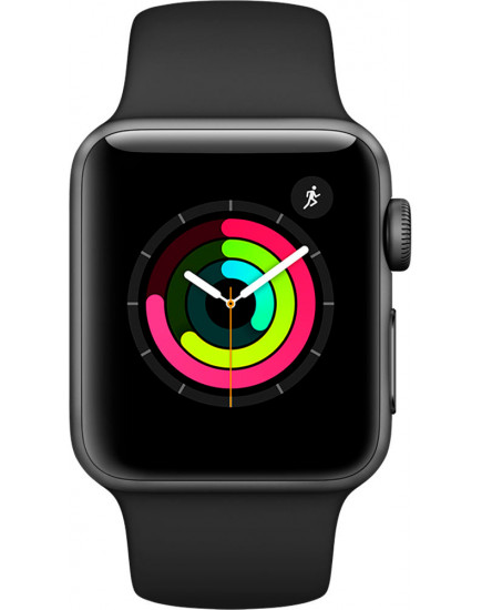 Умные часы Apple Watch Series 3 38mm Space Gray Aluminum Case with Black Sport Band (MQKV2)