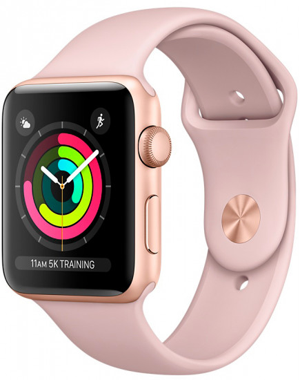 Apple Watch Series 3 38mm Gold Aluminum Case with Pink Sand Sport Band (MQKW2)