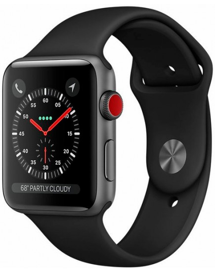 Apple Watch Series 3 LTE 38mm Space Gray Aluminum Case with Black Sport Band (MQJP2)