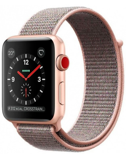 Apple Watch Series 3 42mm Gold Aluminum Case with Pink Sand Sport Loop (MQKT2)